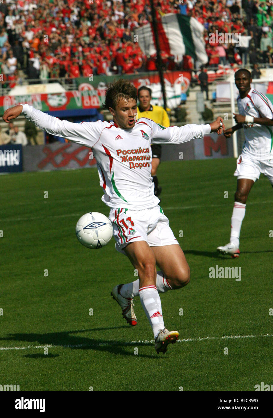 CSKA Moscow football player Dmitry Sychev in a match with the Lokomotiv Moscow football club at Dynamo Stadium in - Stock Image