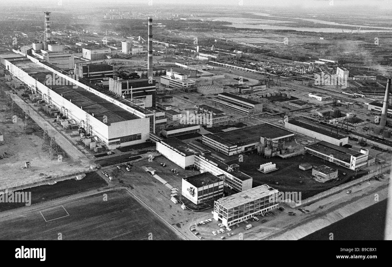 Panorama of Chernobyl nuclear power plant in May 1987 - Stock Image