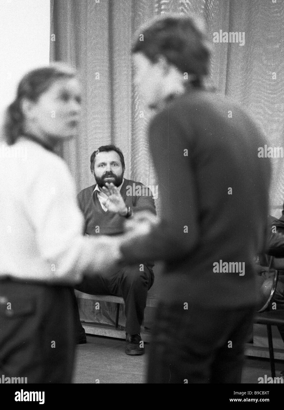Director of the Moscow Drama Theater on Malaya Bronnaya Street Yevgeny Lazarev background People s Artist of the - Stock Image