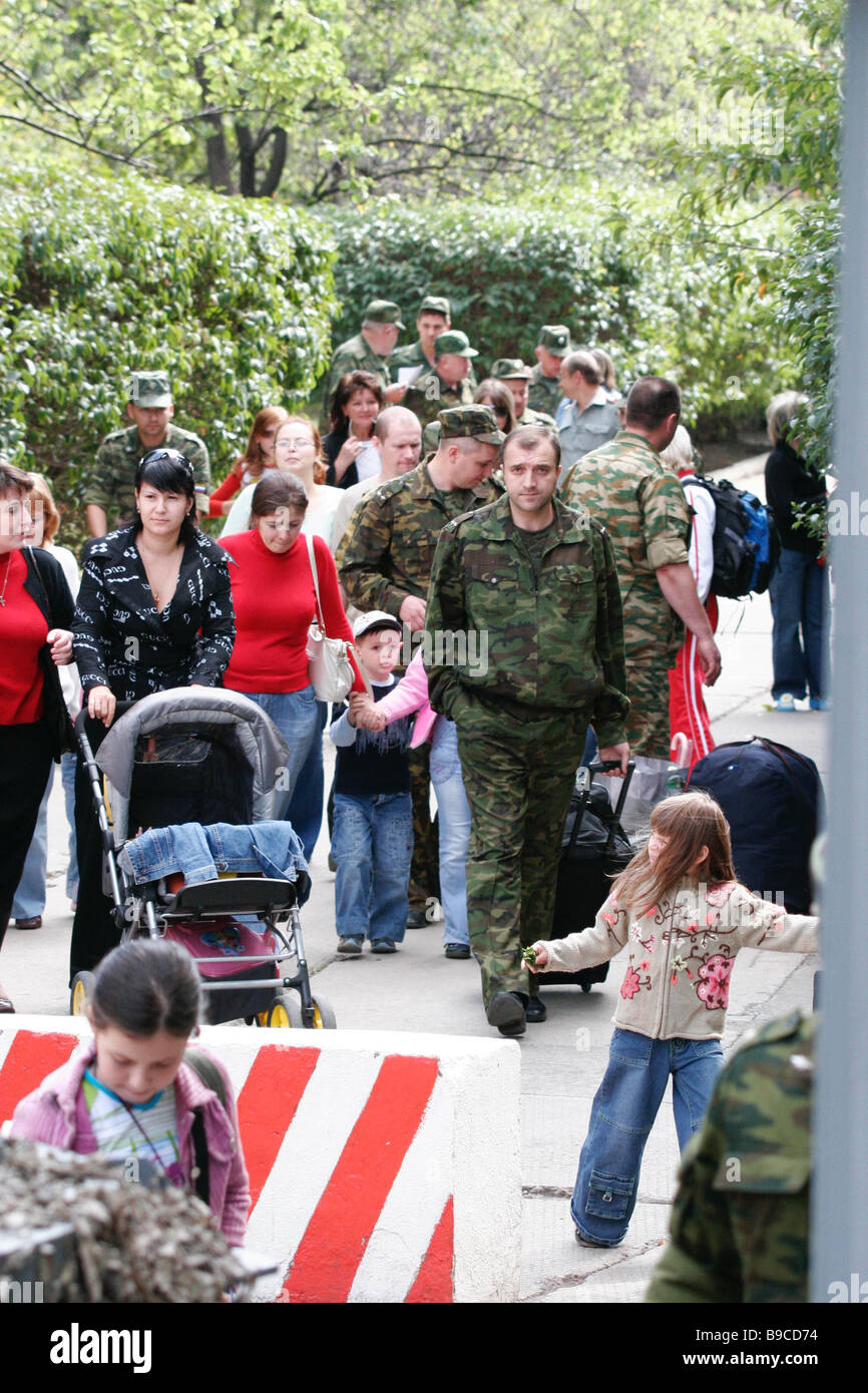 Evacuating Russian diplomats and their family members from Tbilisi - Stock Image