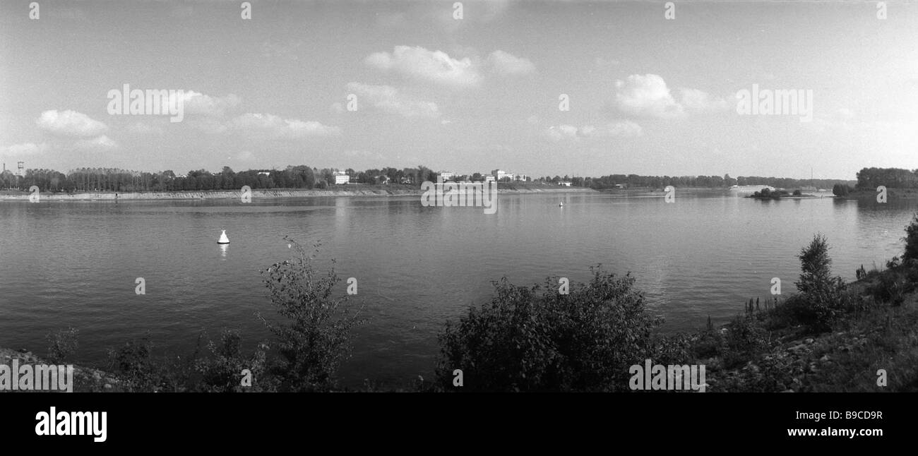 View of the town of Uglich from the Volga s left bank - Stock Image
