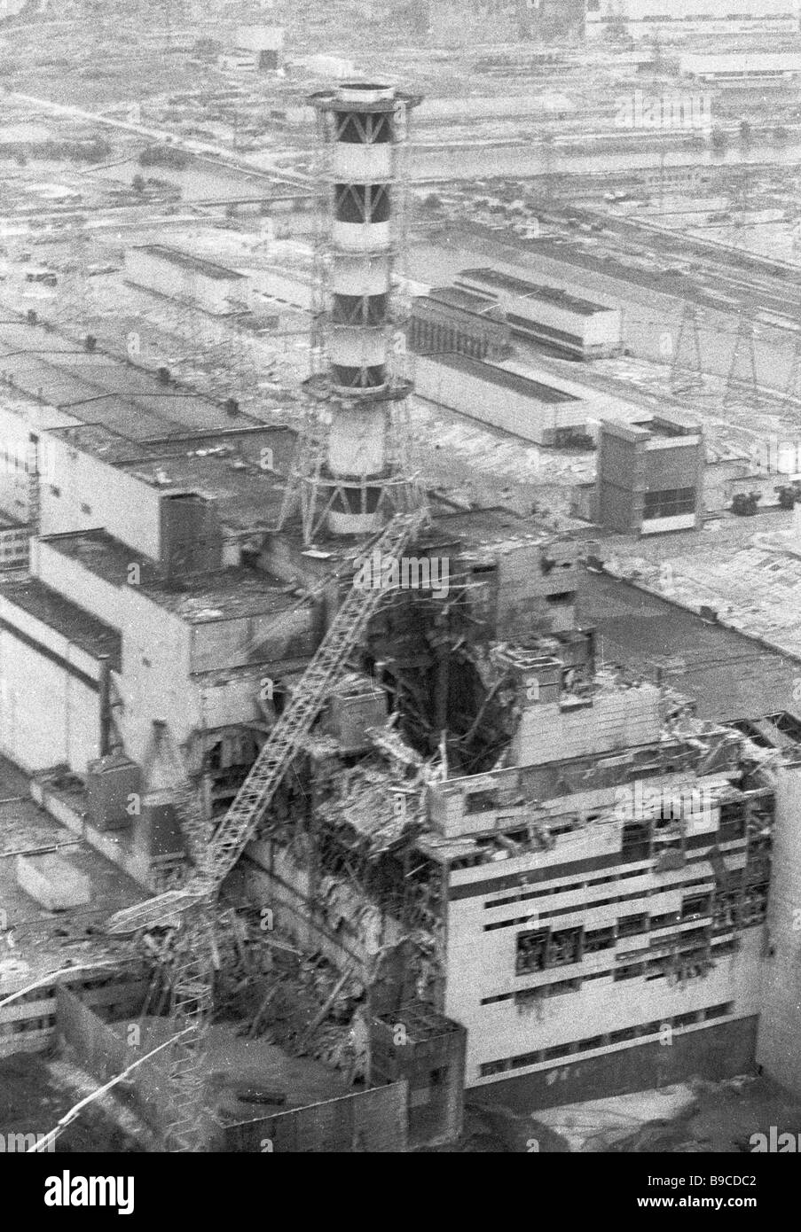 Chernobyl s fourth nuclear reactor destroyed 4 months after the disaster - Stock Image