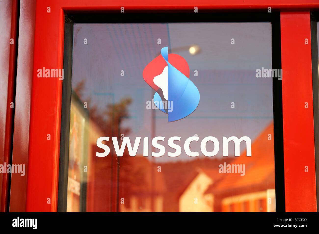 swisscom telephone booth in switzerland - Stock Image