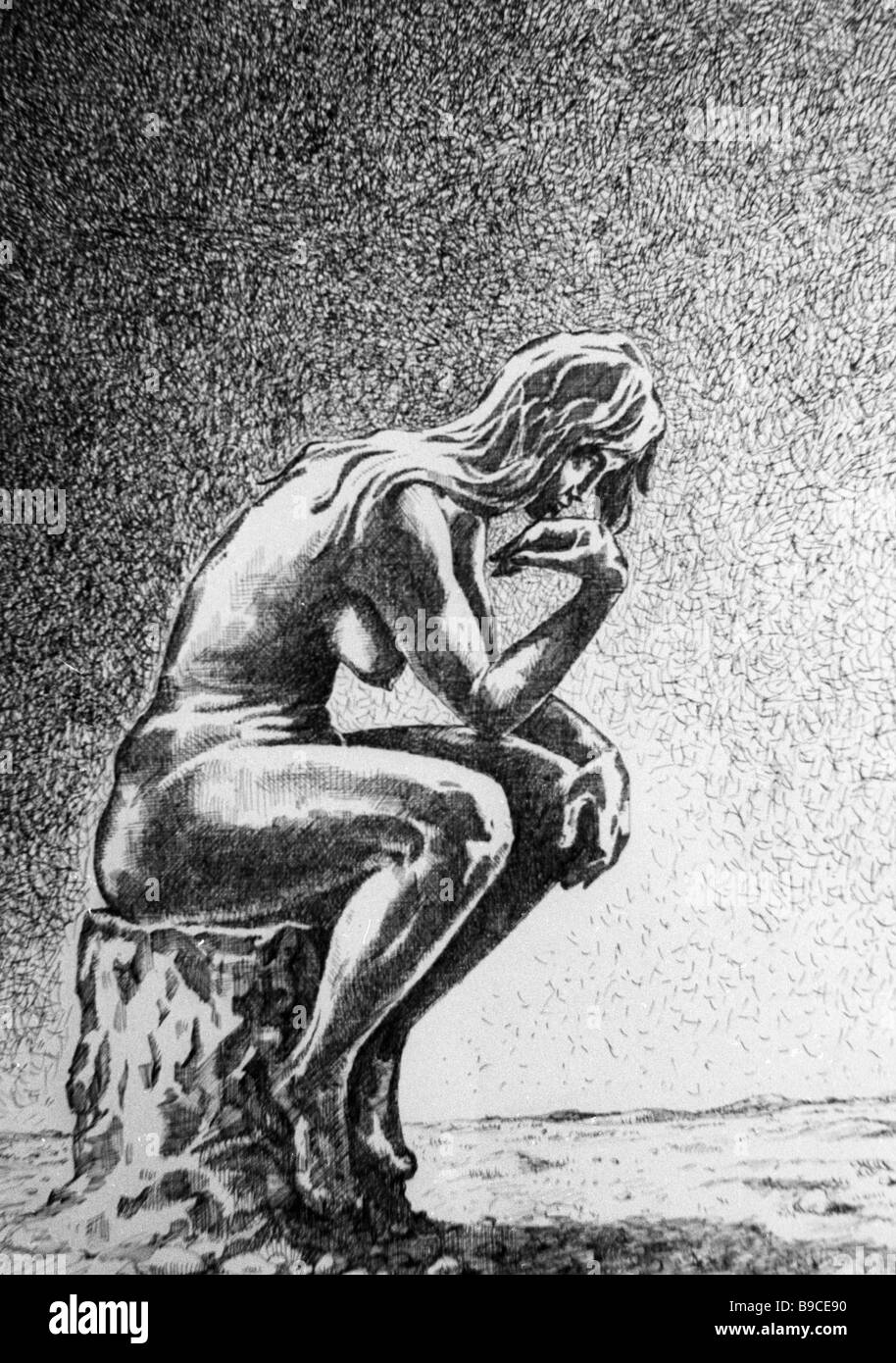 Reproduction of drawing Woman Thinker by Igor Smirnov - Stock Image