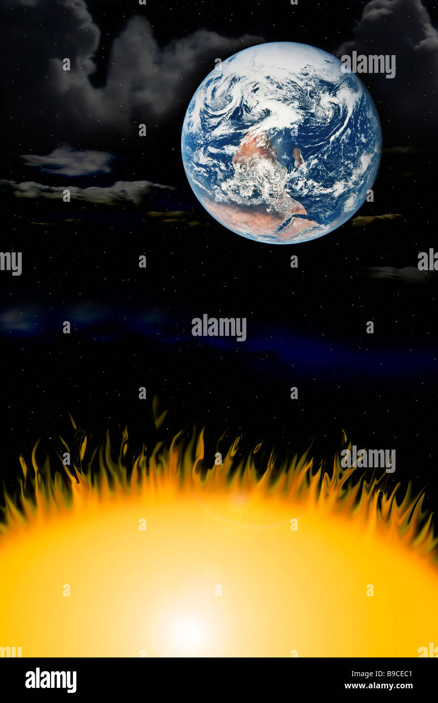 the three elements earth wind fire - Stock Image