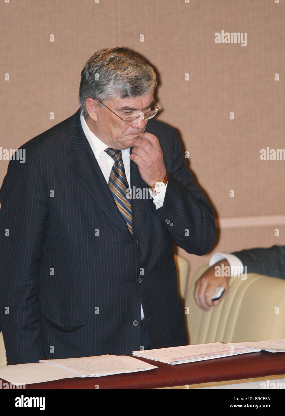 The Pension Fund Board Chairman Gennady Batanov at a plenary session of the State Duma Stock Photo
