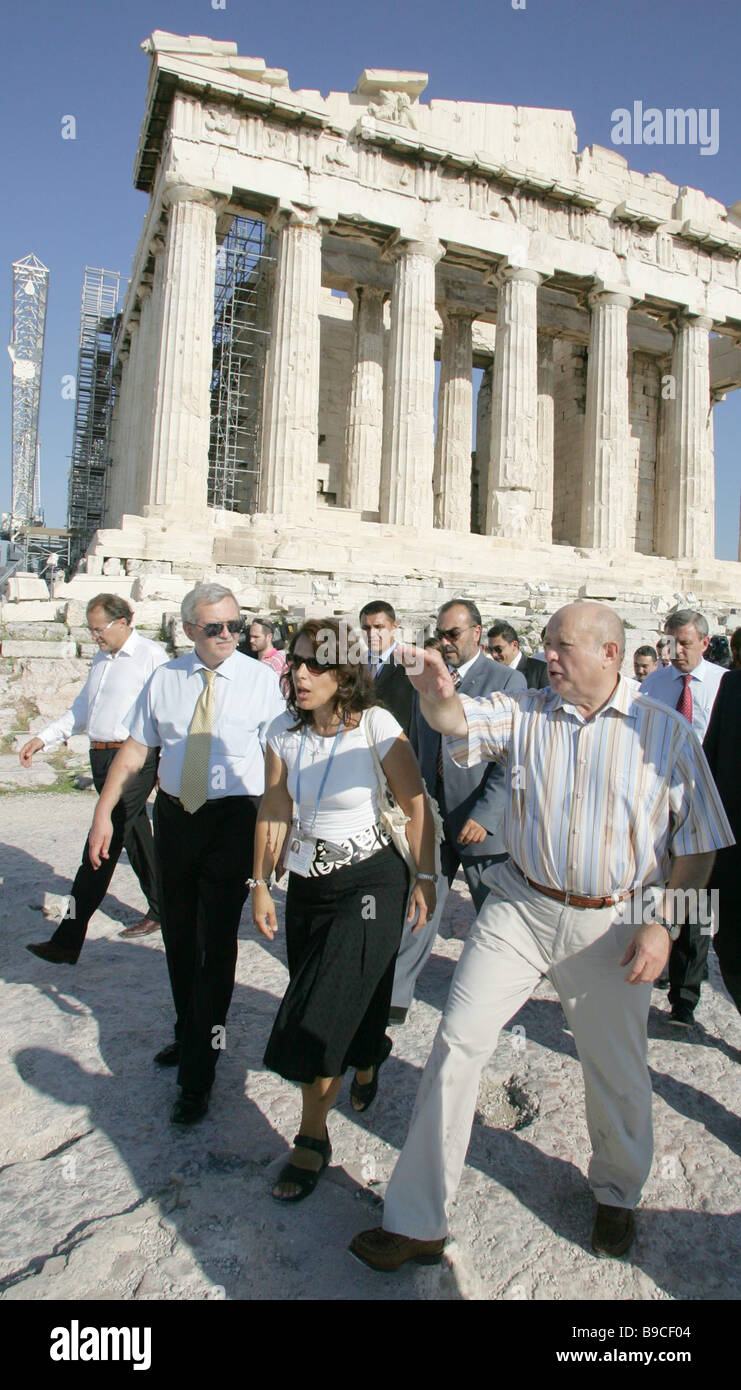 During a walk in the Greek capital Prime Minister Mikhail Fradkov inspected the Acropolis - Stock Image