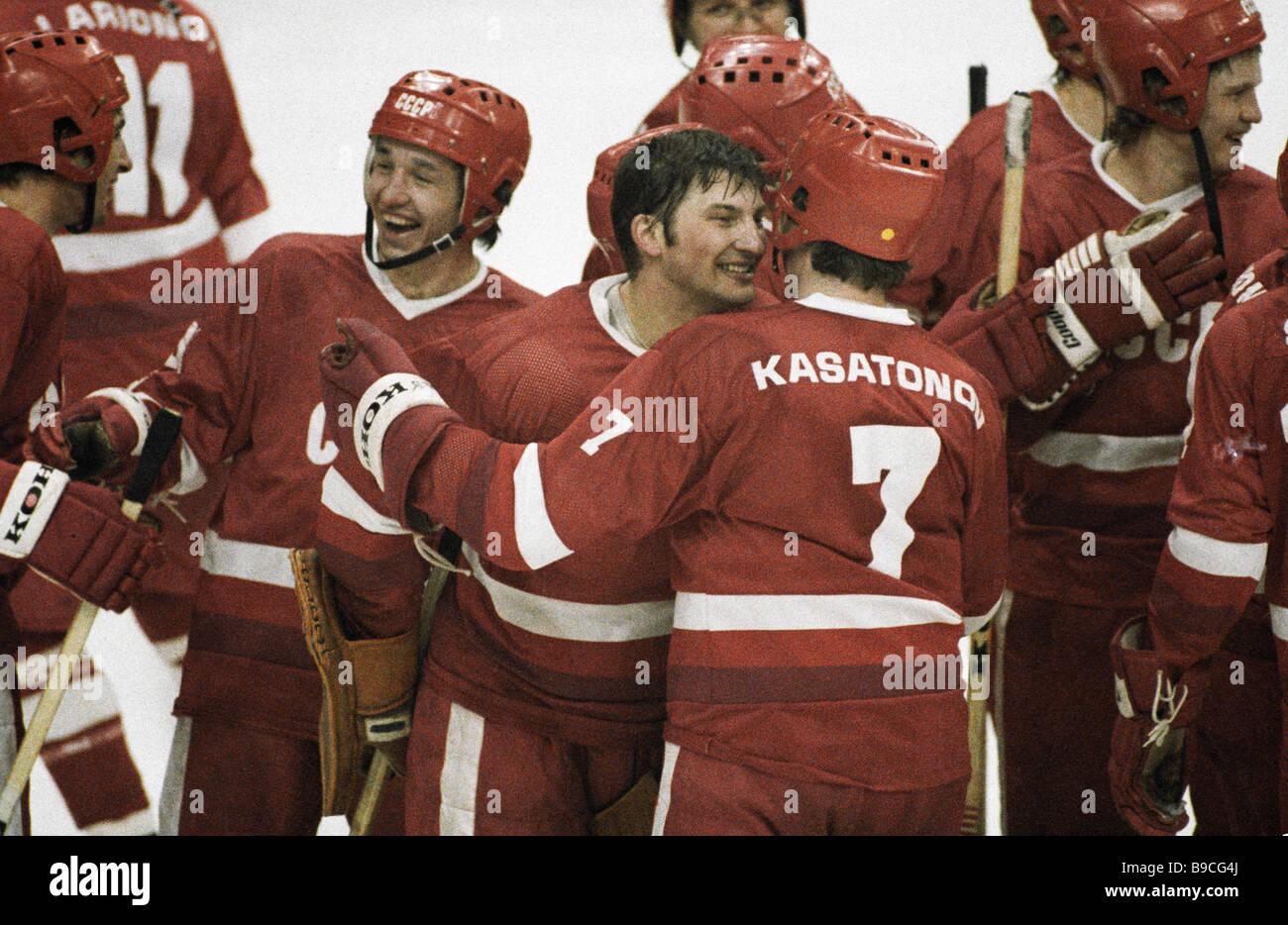 Soviet ice hockey select team wins Fourteenth Winter Olympics - Stock Image