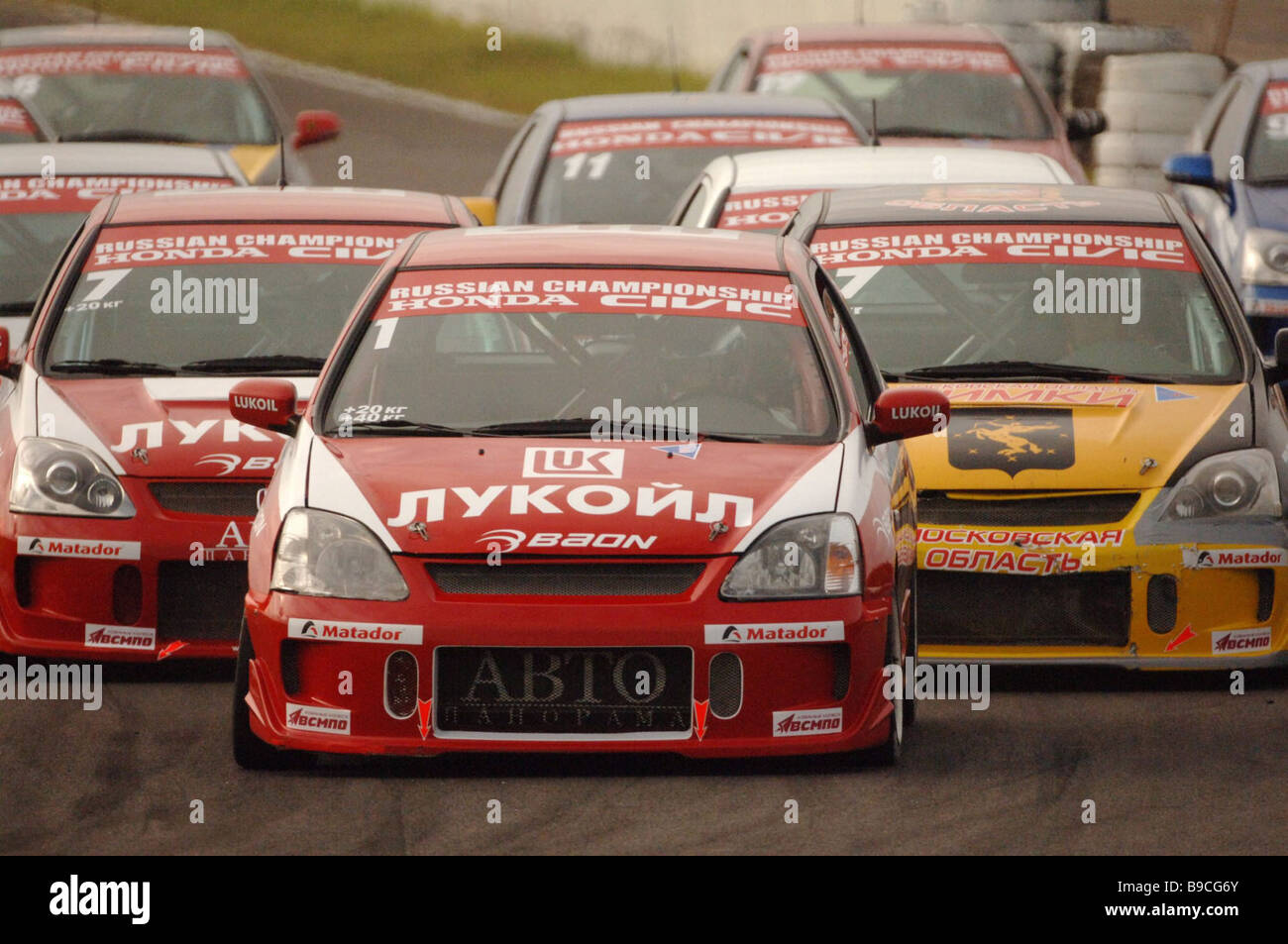 A heat in the Honda Civic qualifying group at the Russian motor circuit racing championships - Stock Image