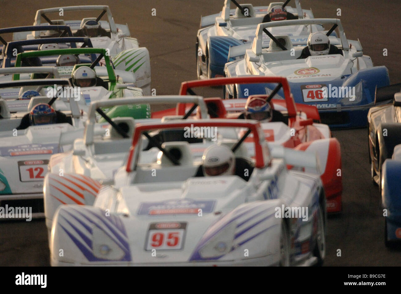 A heat in the Lada Revolution qualifying group at the Russian motor circuit racing championships The ADM track at - Stock Image