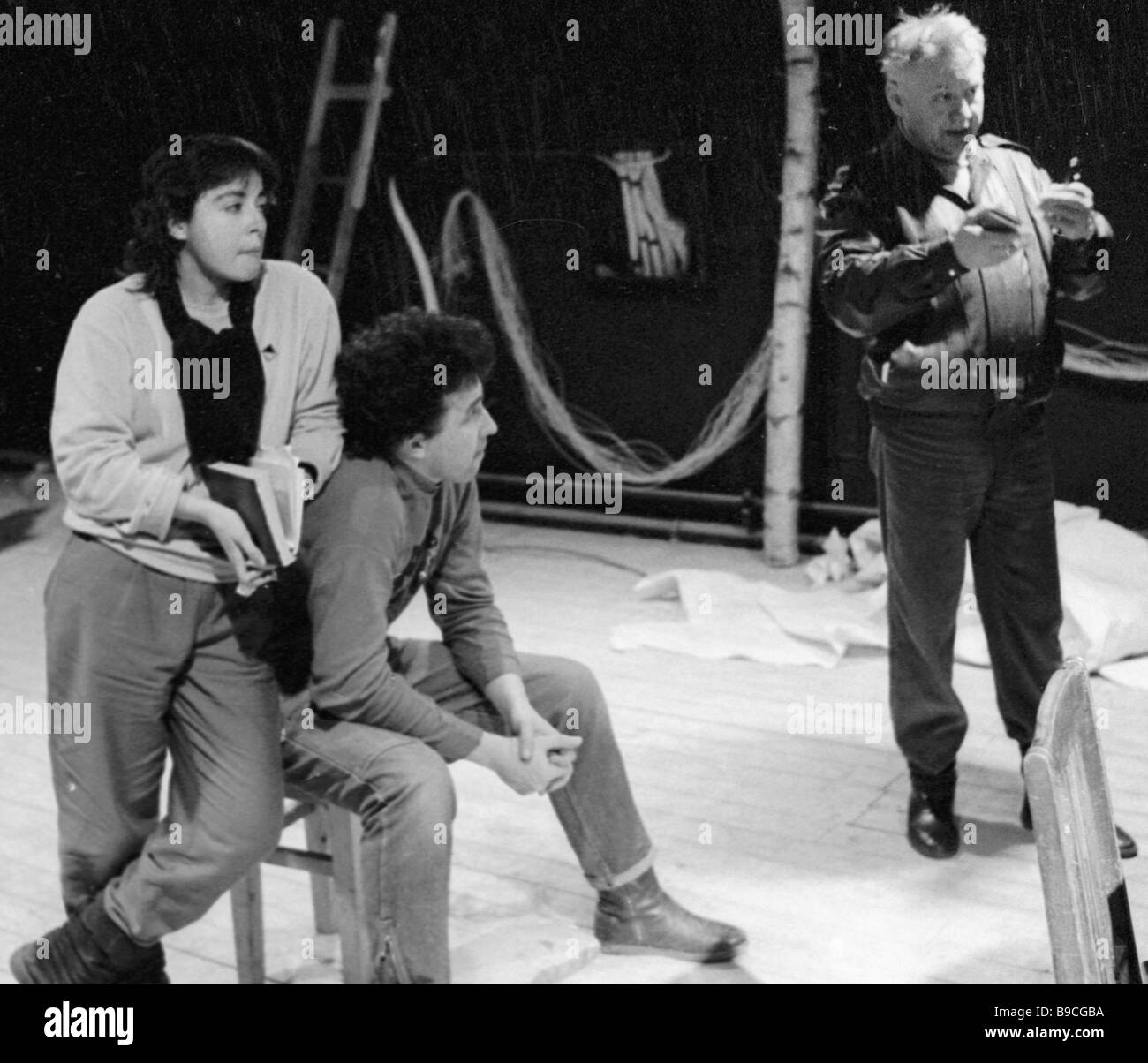 Oleg Tabakov right chief stage director of the Theater Studio on Chaplygina Street in rehearsal - Stock Image