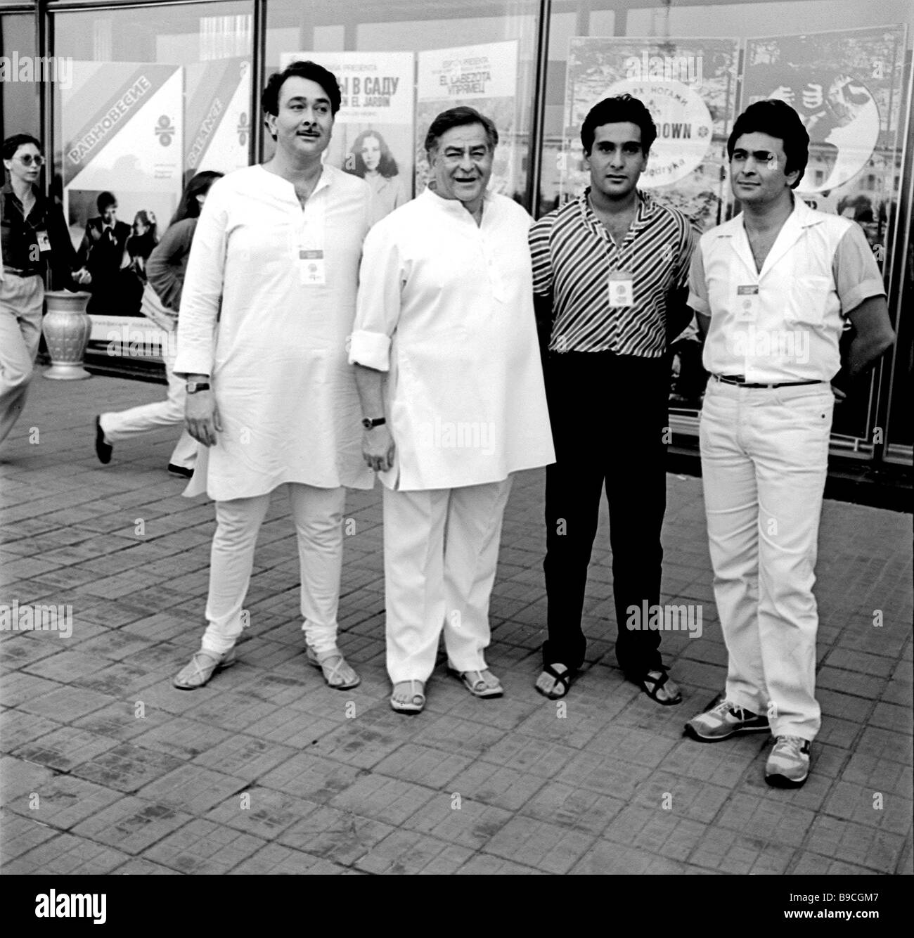 Famous Indian actor and film director Raj Kapoor with his sons Randhir and Rishi during the 13th Moscow International - Stock Image