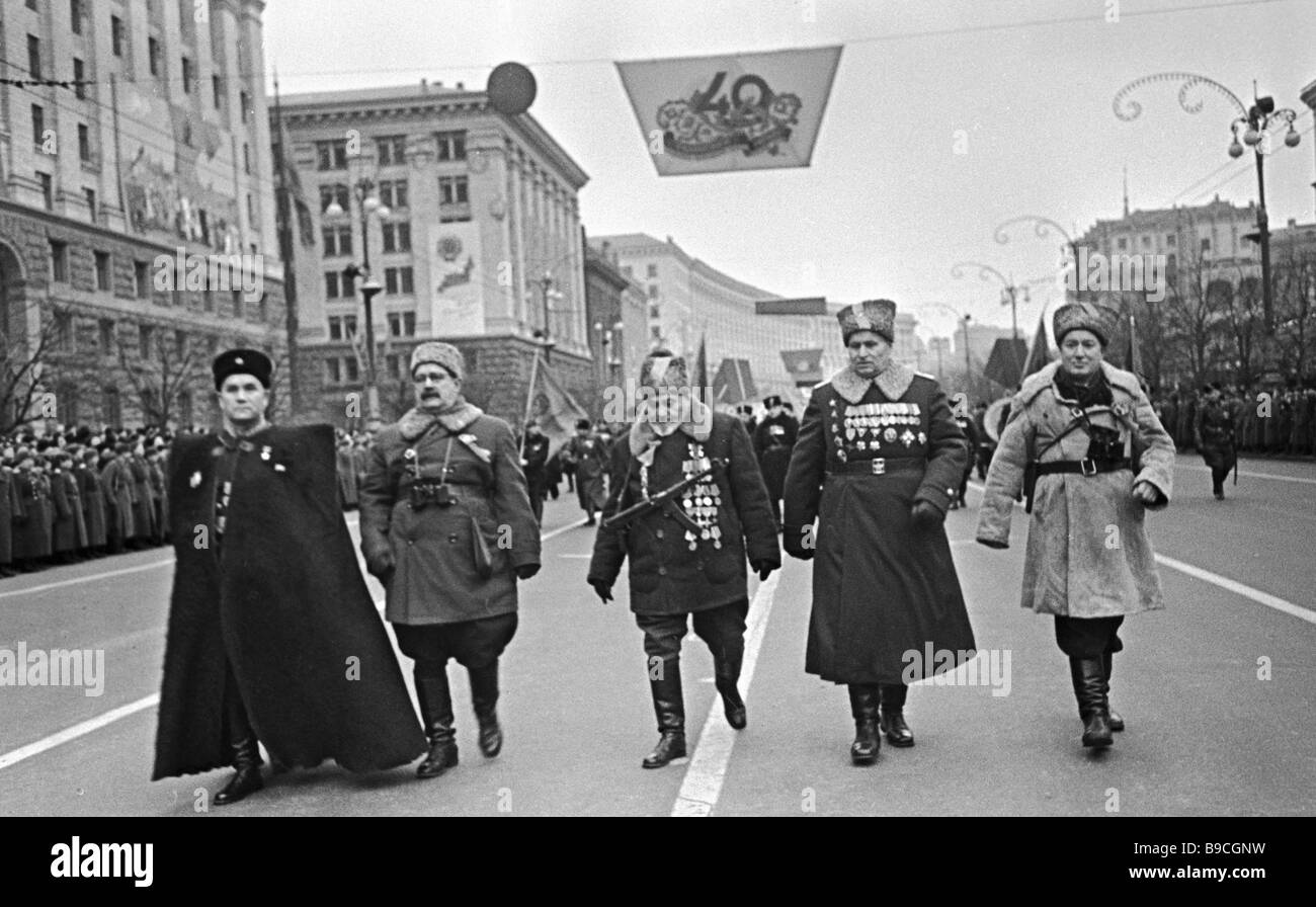 A parade in honor of Kiev s liberation - Stock Image