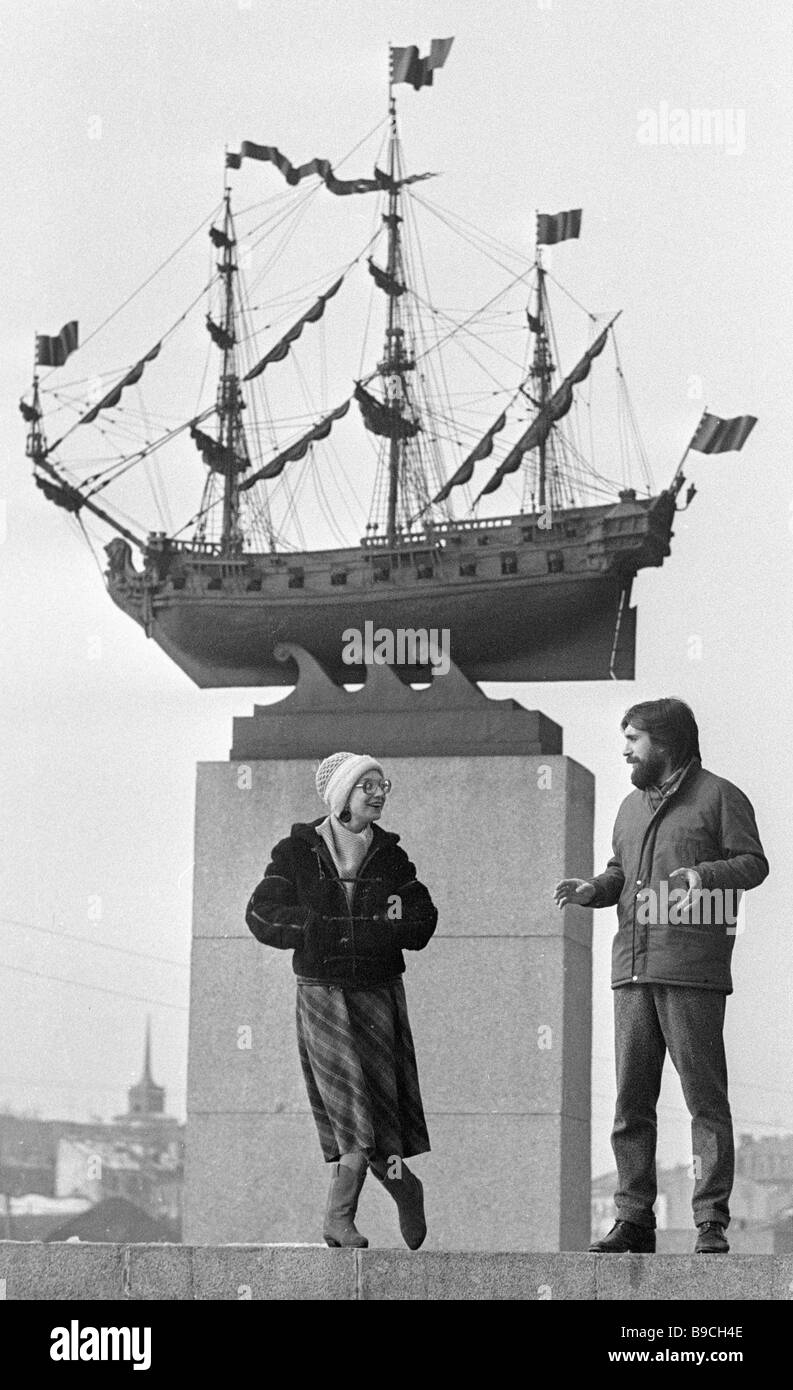 The Standard club s founders Vadeisus against the background of the sculptured frigate restored in the club - Stock Image