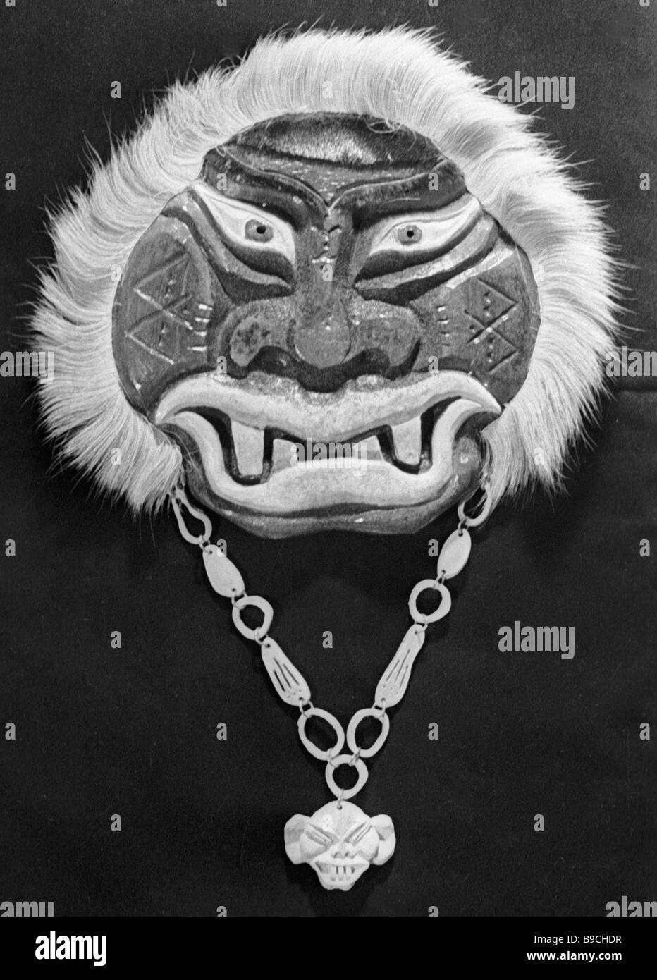 The memento shaman fur mask made at the Providence art workshop - Stock Image