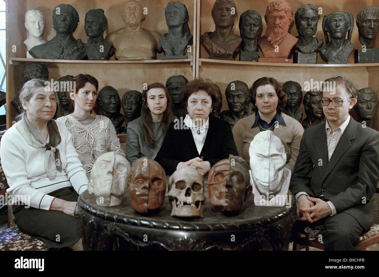 Members of the laboratory of anthropological and plastic reconstruction of the Institute of Ethnography U S S R - Stock Image