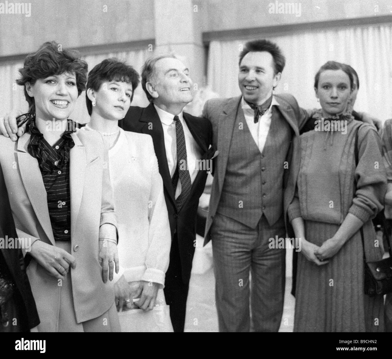 French couturier Pierre Cardin forth from right and Russian fashion designer Vyacheslav Zaitsev third from right - Stock Image
