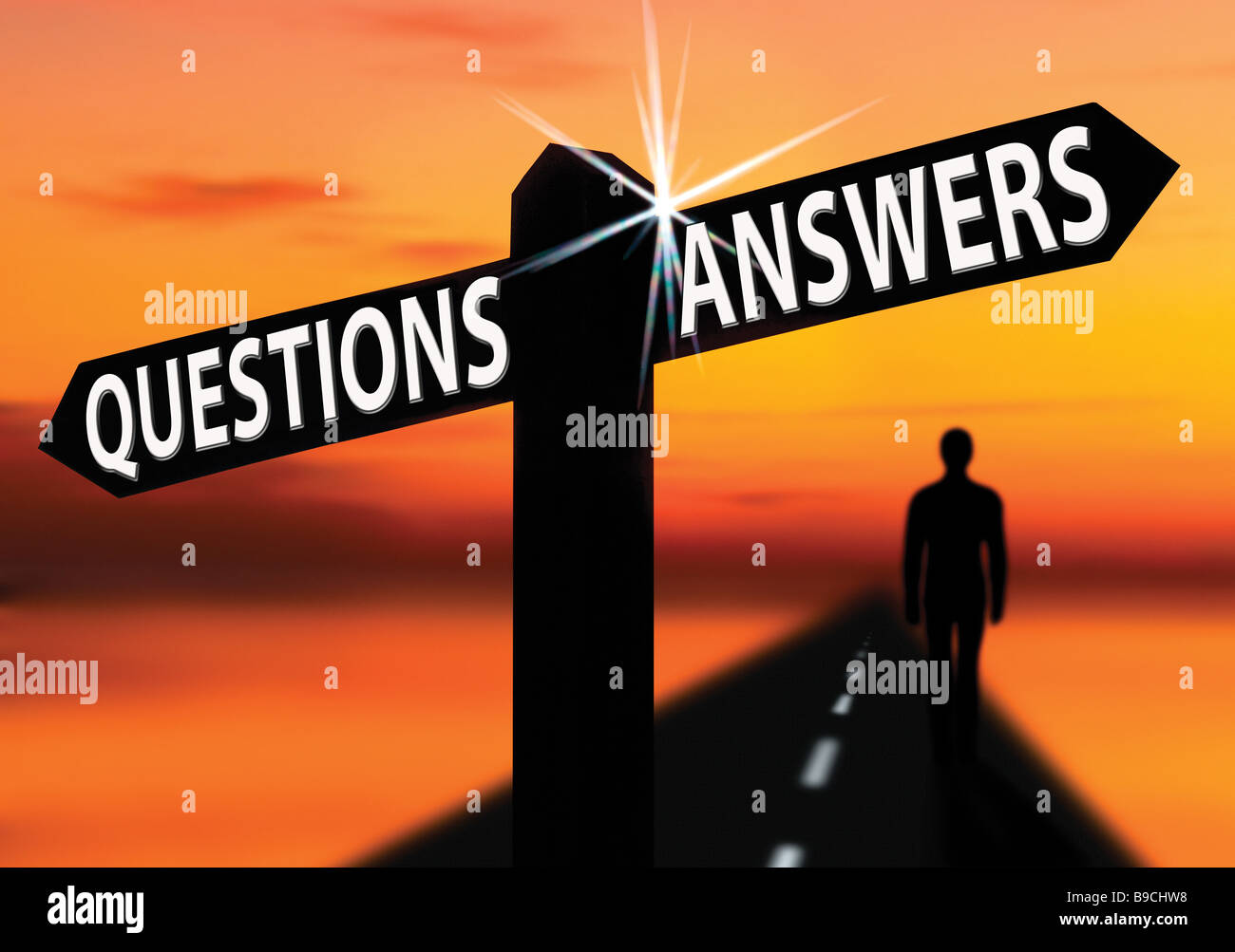 questions and answers sign with man - Stock Image