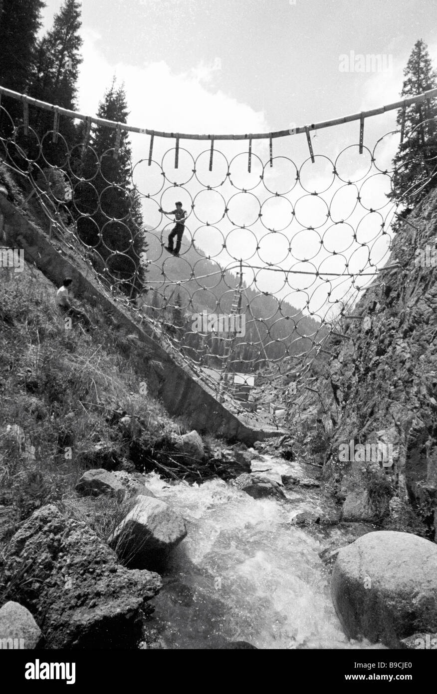 Netting traps to control mud streams in gorges of Zailiisky Alatau - Stock Image