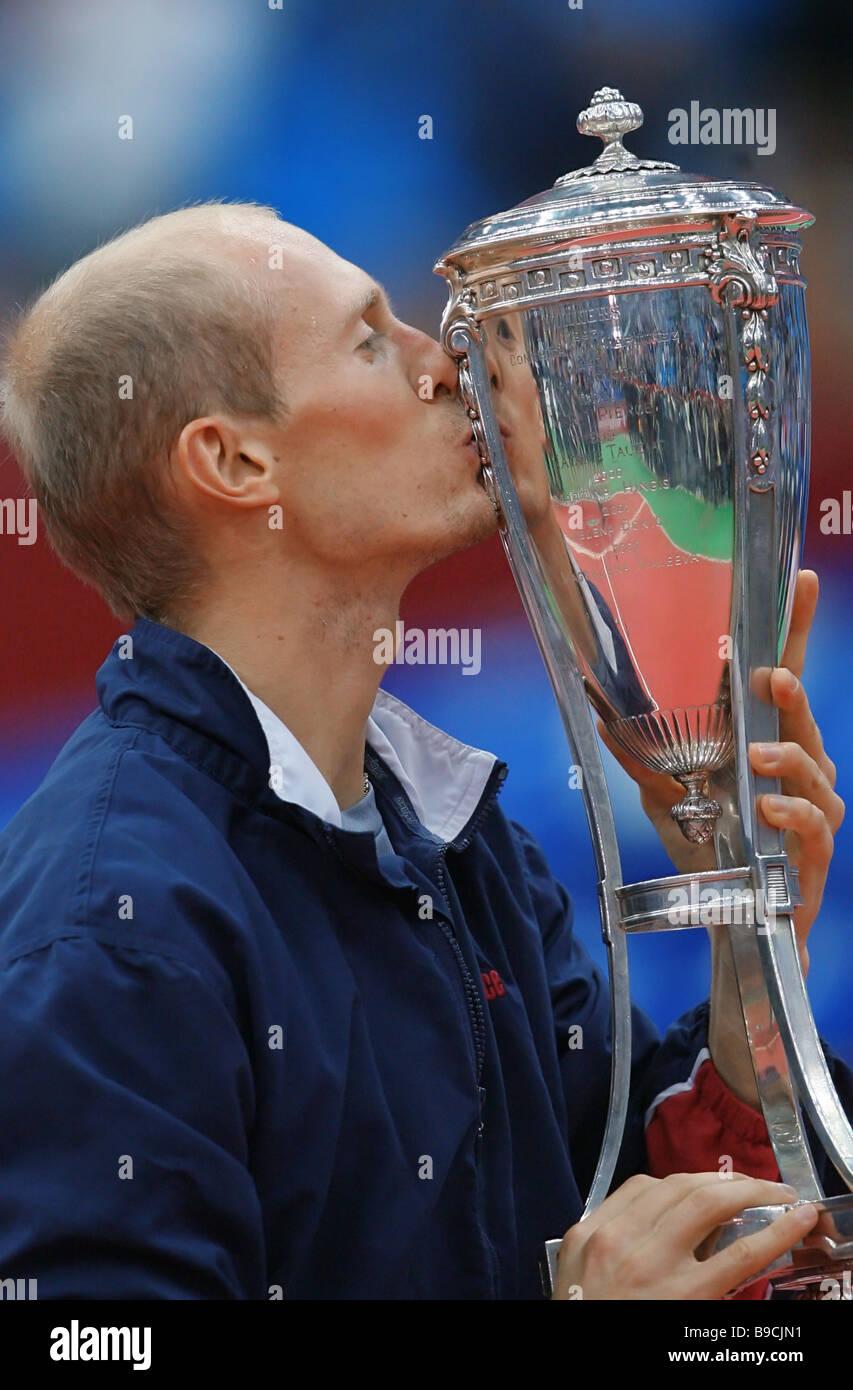 Russian tennis player Nikolai Davydenko after the final match of the 17th international tennis tournament Kremlin Cup Davydenko Stock Photo