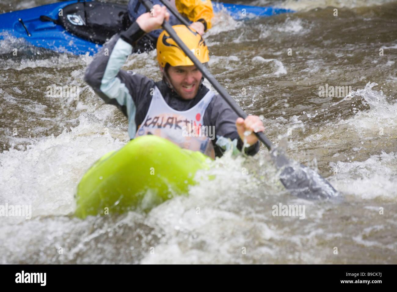 Kayakcrossing Whitewater Kayaking Nyköping Sweden - Stock Image