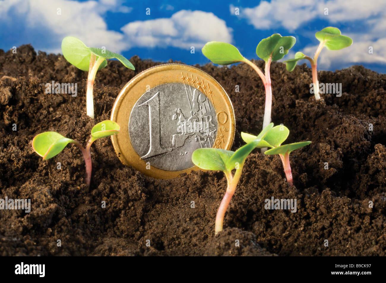green shoots recovery EU Euro economy economic growth - Stock Image