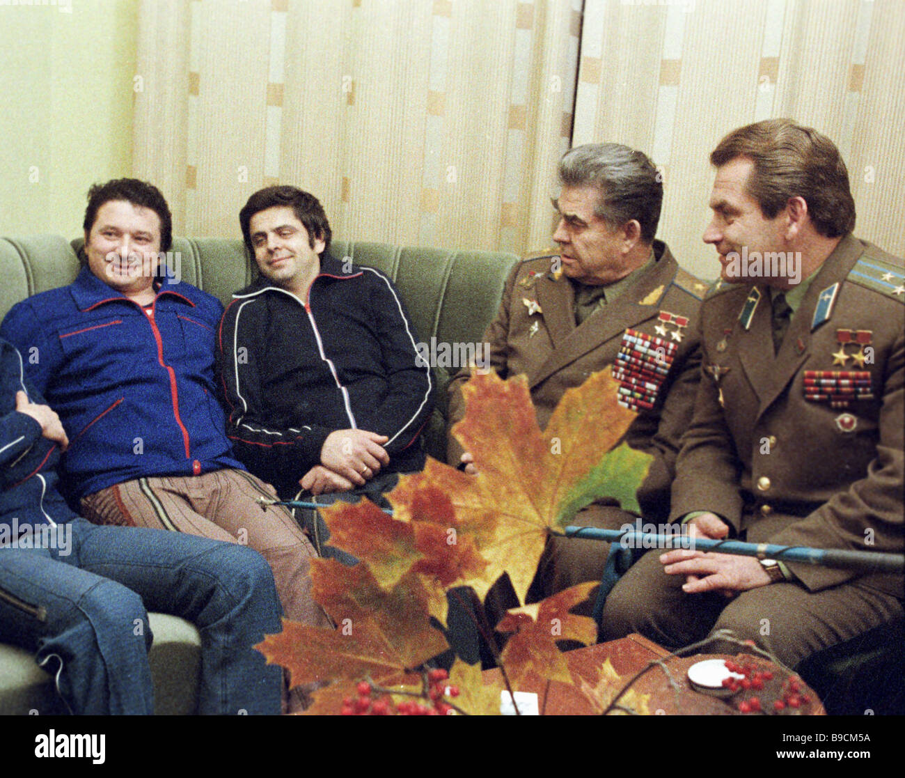 Crew members of the Soyuz 11 spaceship Researcher Oleg Atkov ext left Hero of the Soviet Union pilot Leonid Kizim - Stock Image