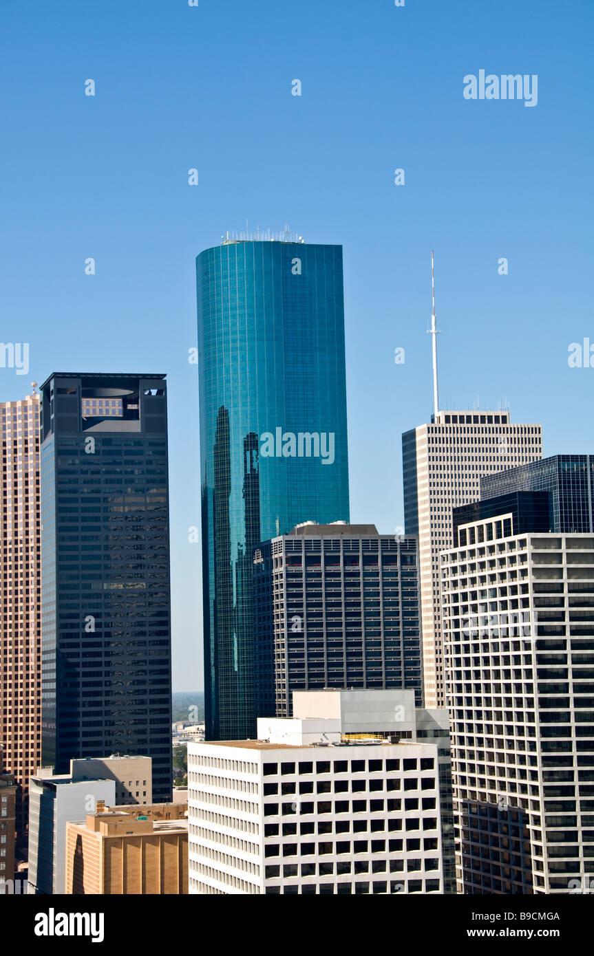 Houston Texas tx skyline skyscrapers buildings against clear blue sky downtown - Stock Image