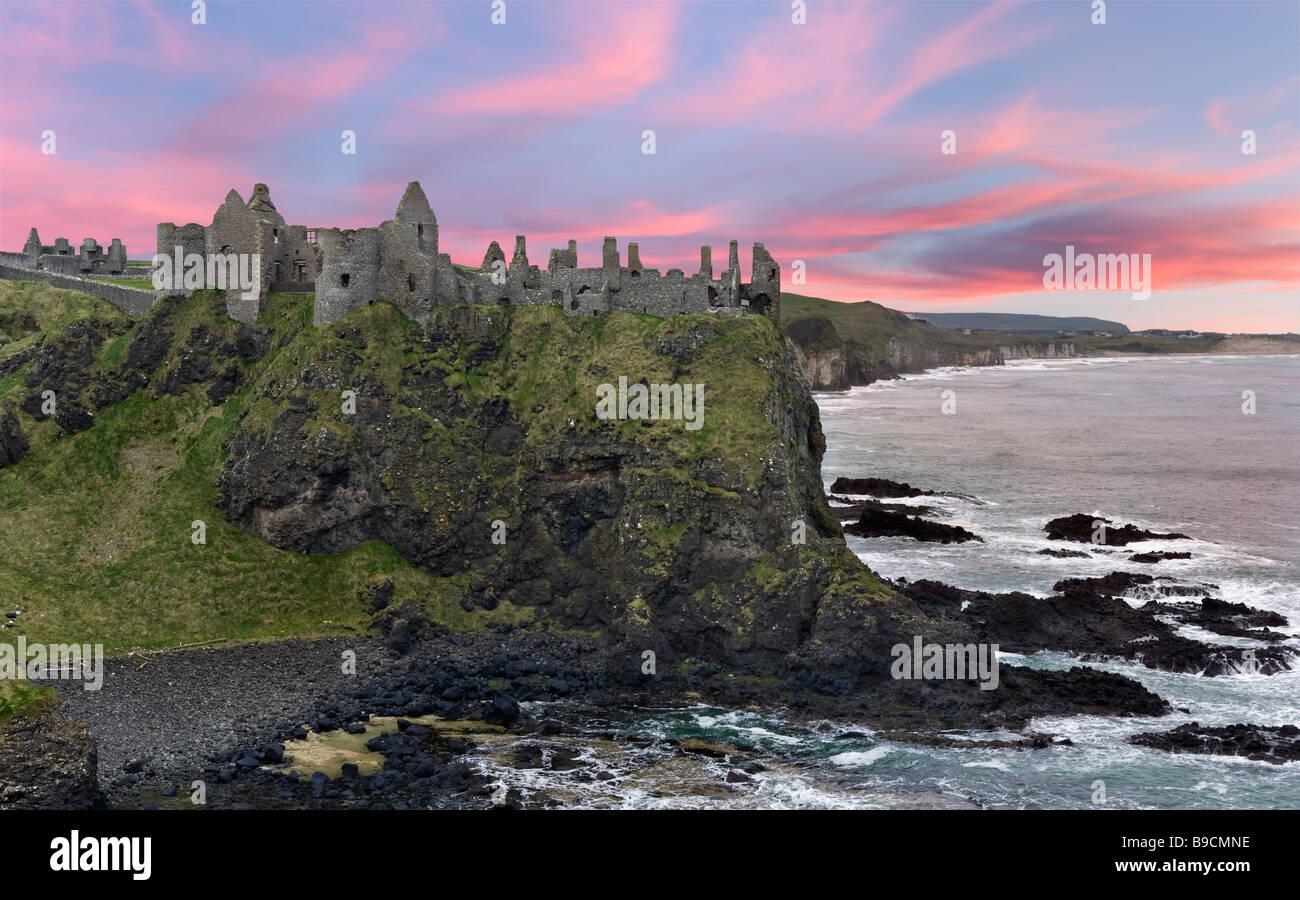 Dunluce Castle, North Antrim Coast, County Antrim, Northern Ireland - Stock Image