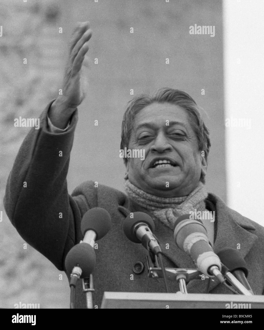 President of the World Peace Council Romesh Chandra addressing an 800 000 antiwar manifestation - Stock Image