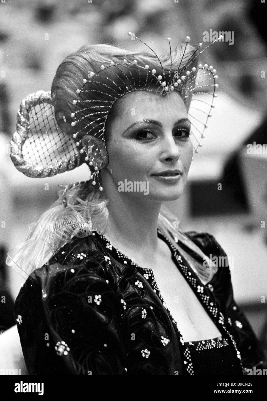 A model demonstrating a baroque style hairdo at the 22nd Friendship Cup International Hairdressers and Cosmeticians - Stock Image