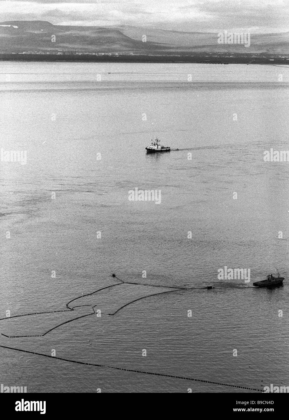 Fishing vessels in Anadyr lagoon - Stock Image