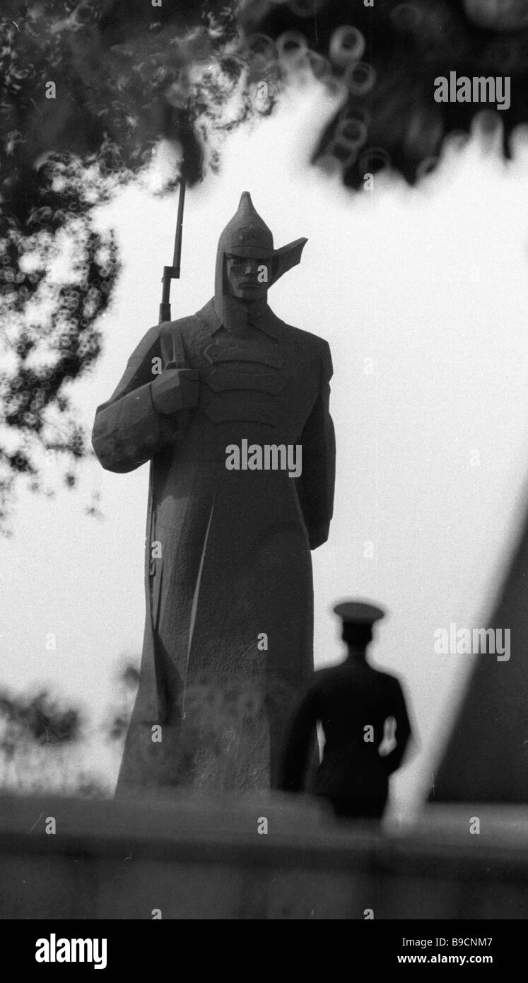 1976 sculpture Cavalryman of Budenny s Army in Stavropol - Stock Image