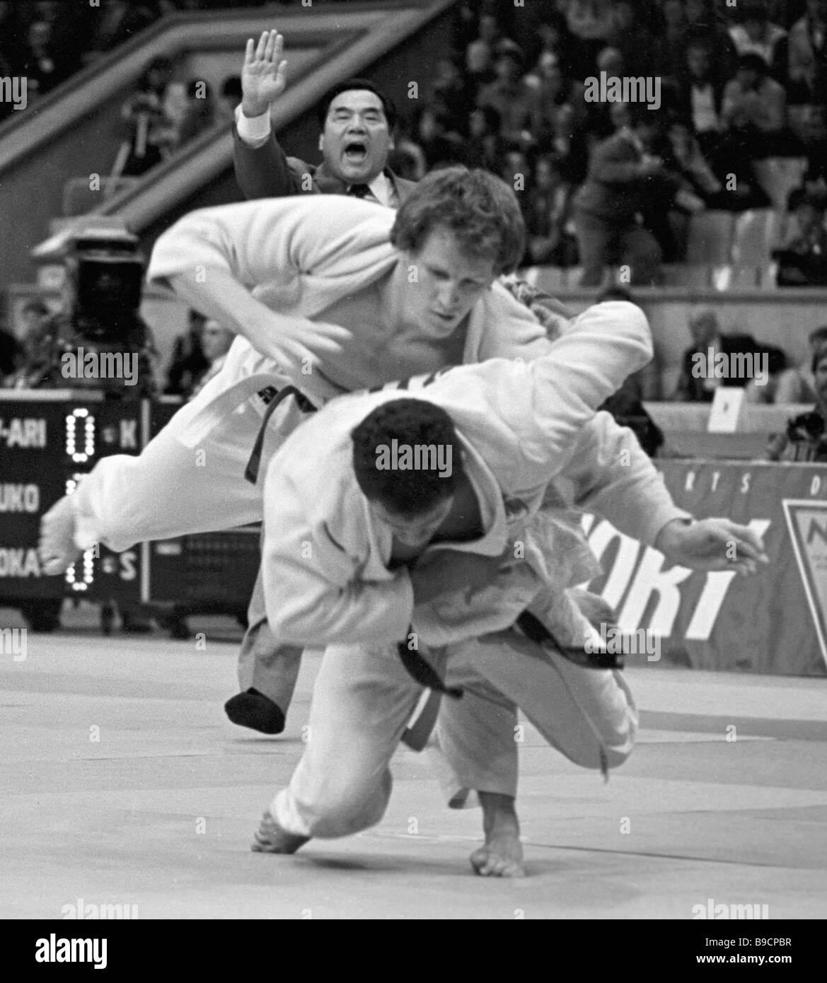 Sportsmen during the bout at the 13th World Judo championship - Stock Image
