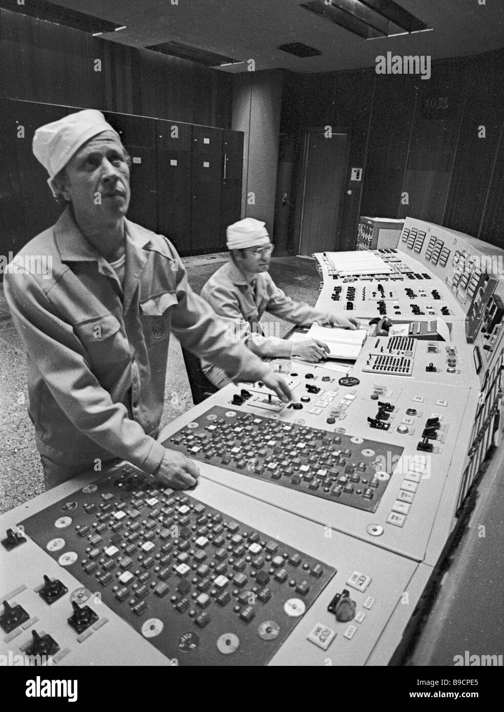 Head of Chernobyl NPP first power generating unit service administration Valery Lomakin left - Stock Image