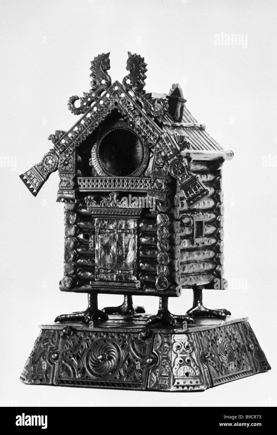 Chicken legged house from Russian folk fairy tales Kasli Museum of Iron Casting - Stock Image