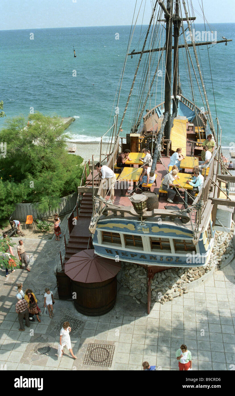 A cafe on the deck of the caravel Espanola Yalta - Stock Image