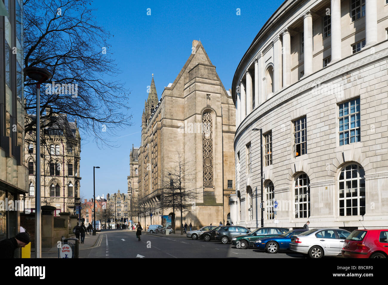 View down Mount Street towards Albert Square with the Central Library and Art Gallery to the right, Manchester, - Stock Image