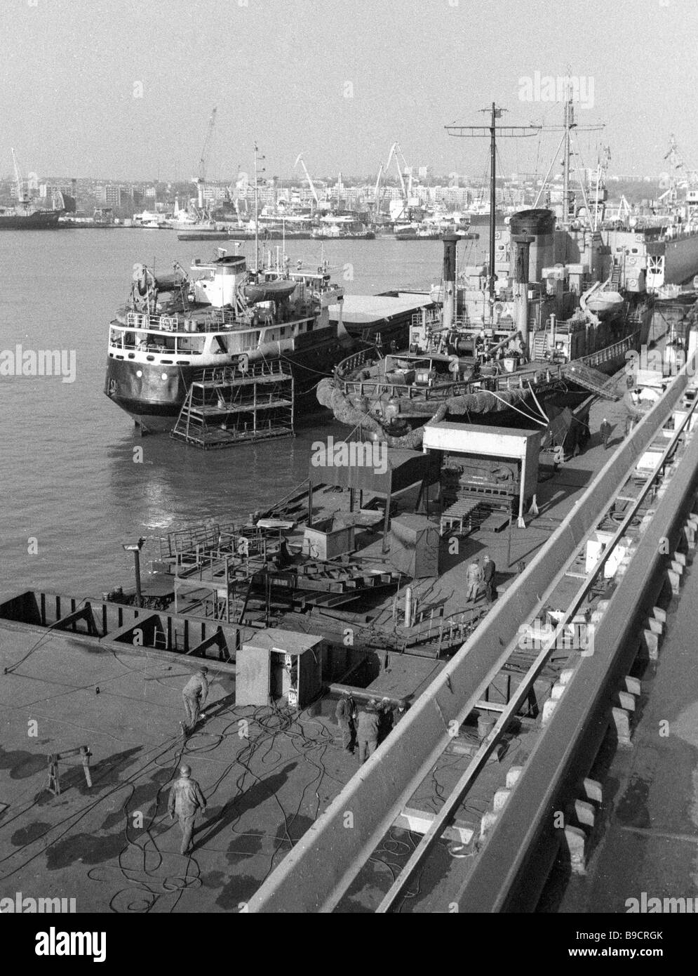 One of productions areas of Zhdanov shipyard - Stock Image