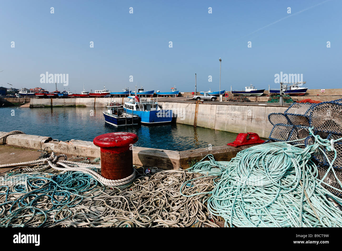 Harbour at Seahouses in Northumberland - Stock Image