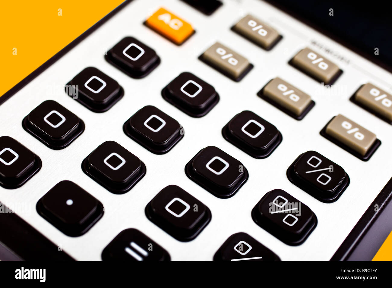 0% zero percent interest rates shown on a old fashioned calculator - Stock Image