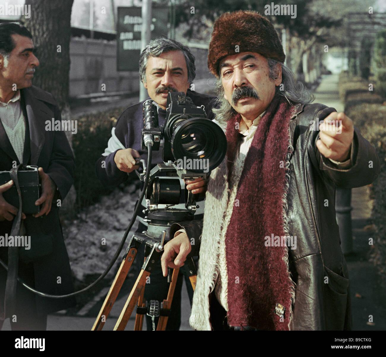 The director of the film New Tales of Sheherezade Takhir Sabirov right and cameraman Rustam Mukhamedzhanov - Stock Image