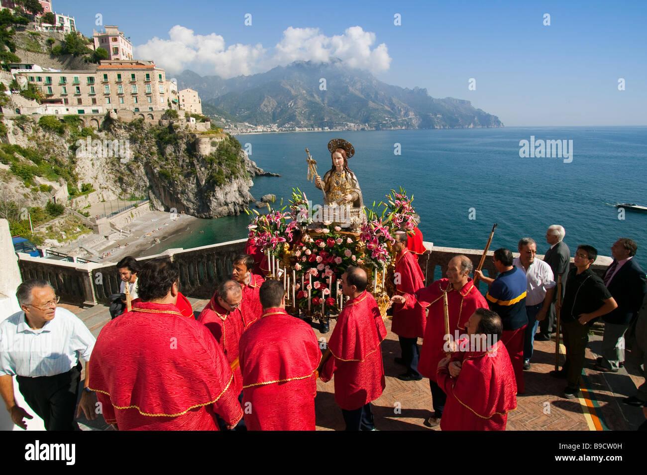 Santa Maria Maddalena celebrations Atrani Amalfi coast Salerno italy Stock Photo