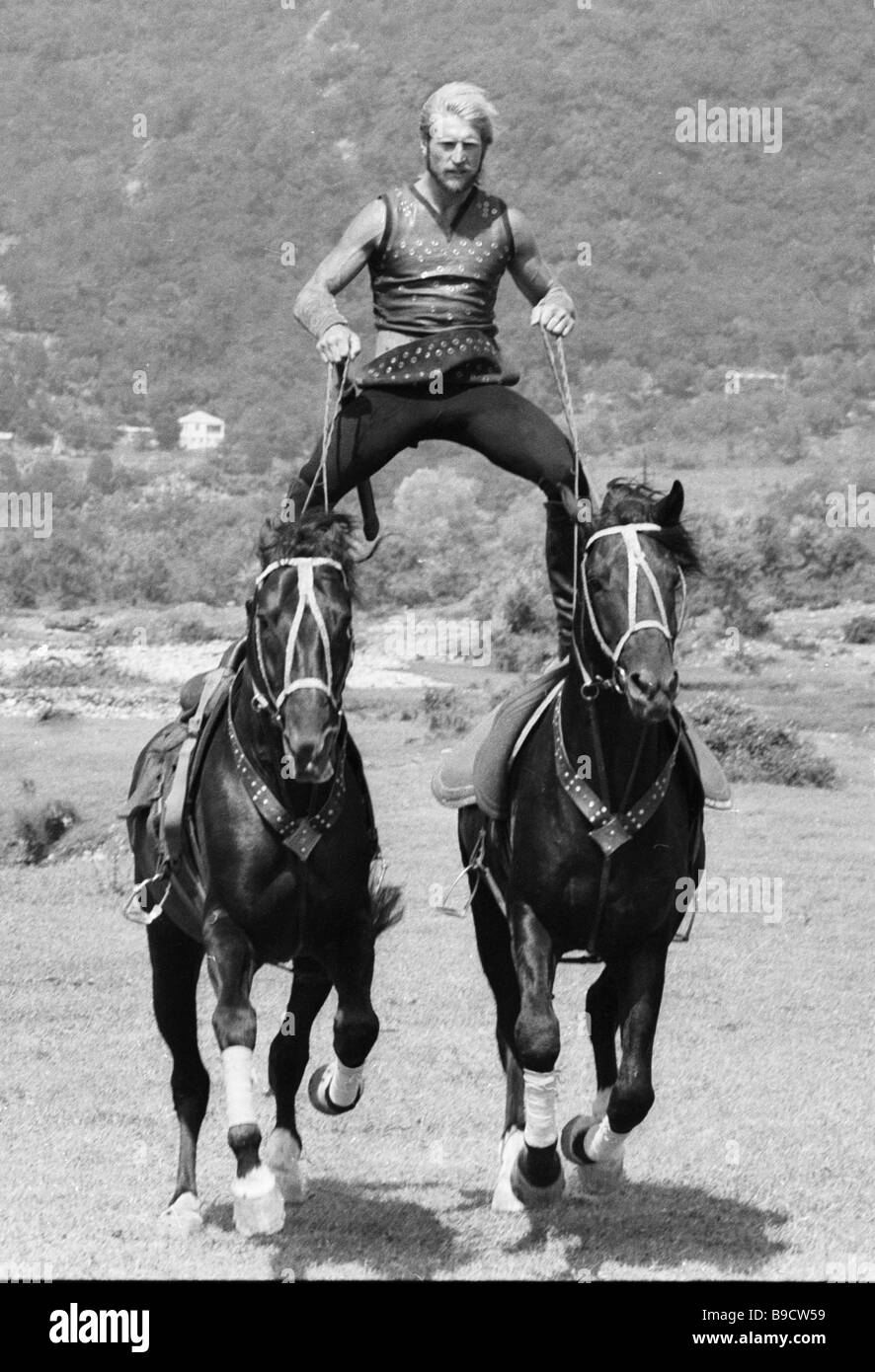 An actor with the Equestrian Theater of Stunt Performers training - Stock Image