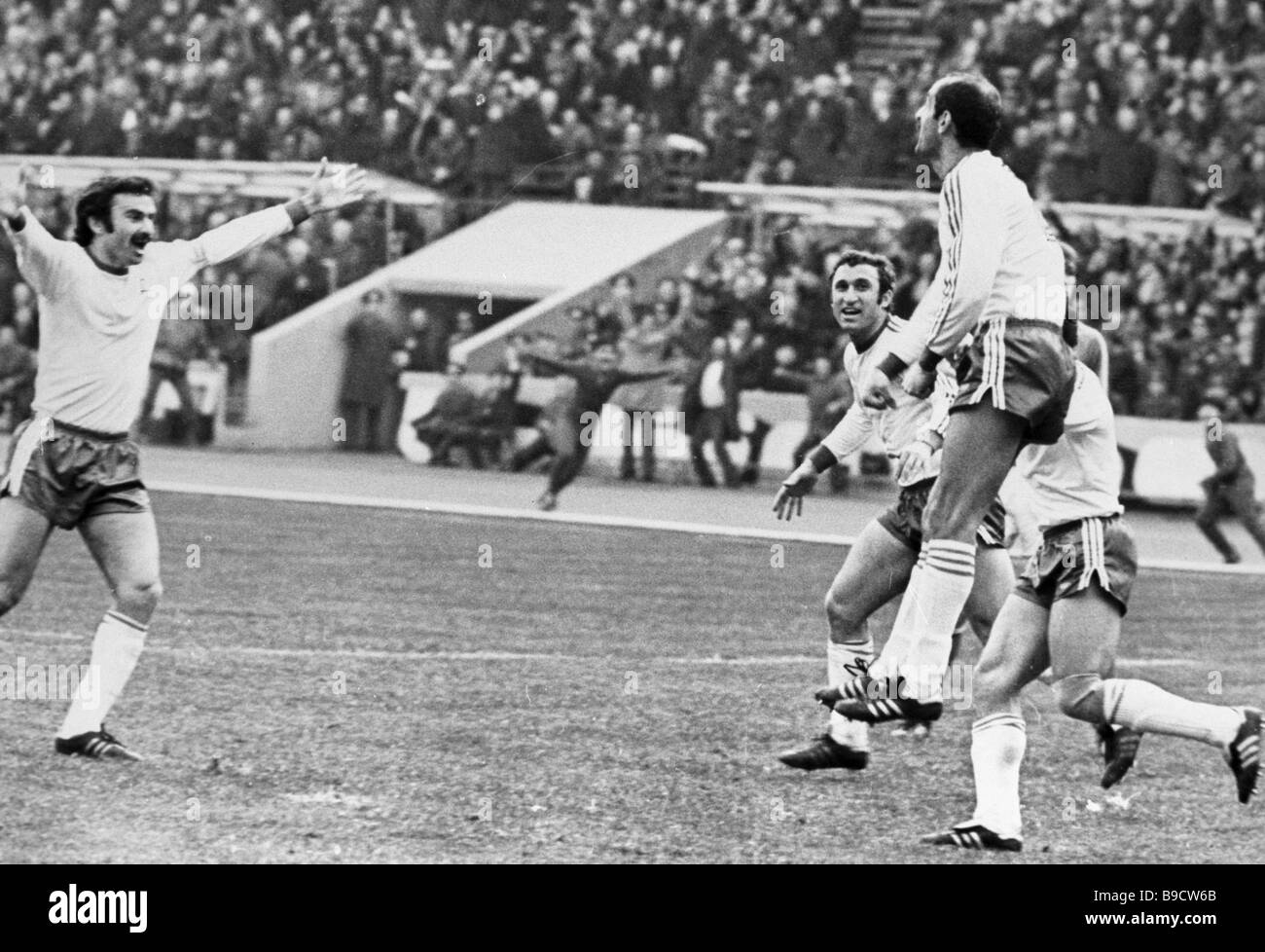 Tbilisi Dynamo s David Kipiani jumping when playing a match for the Cup Winners Cup - Stock Image