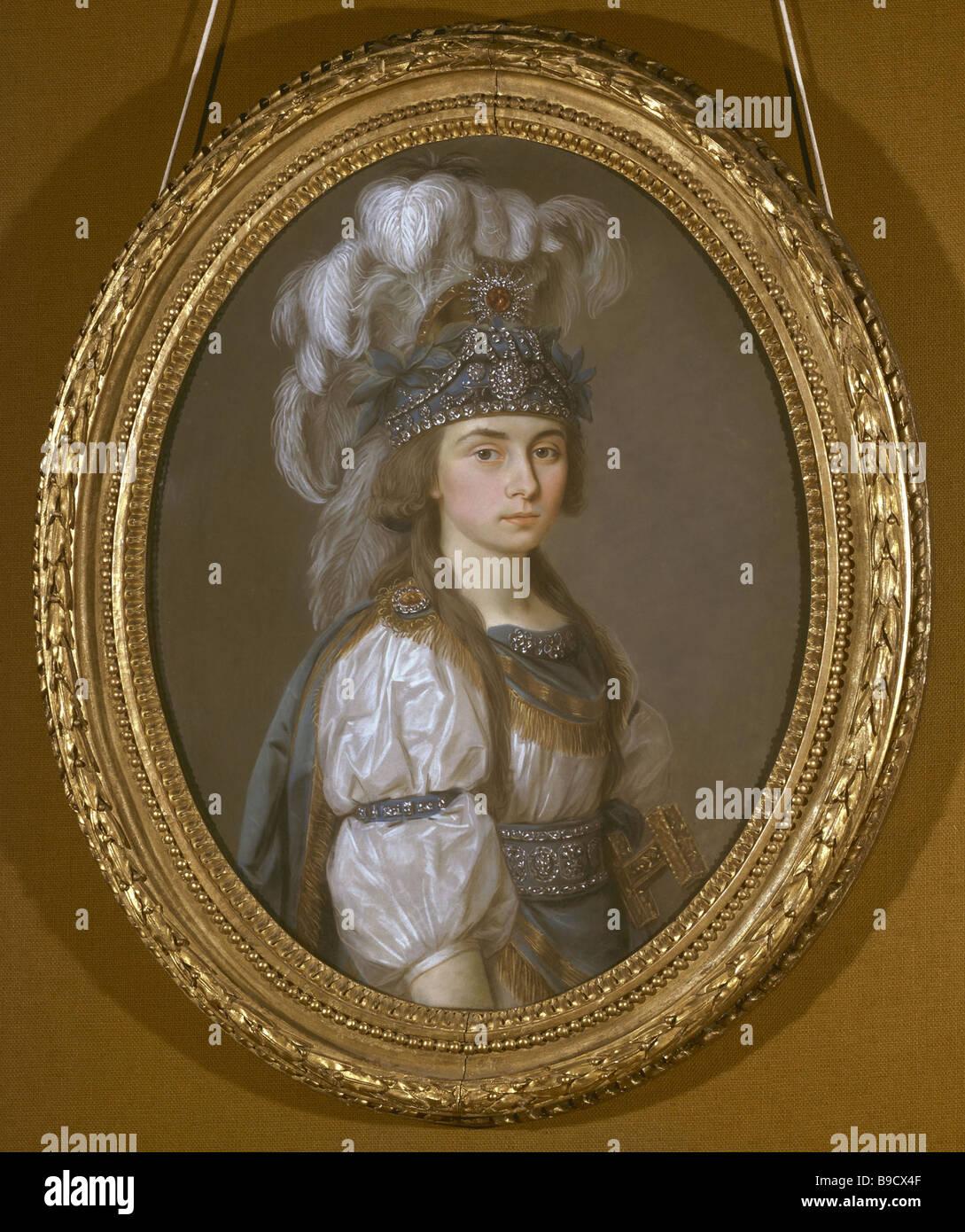 A portrait of Parasha Zhemchugova 1768 1803 renowned Russian serf actress Countess Sheremeteva in marriage Exhibited - Stock Image