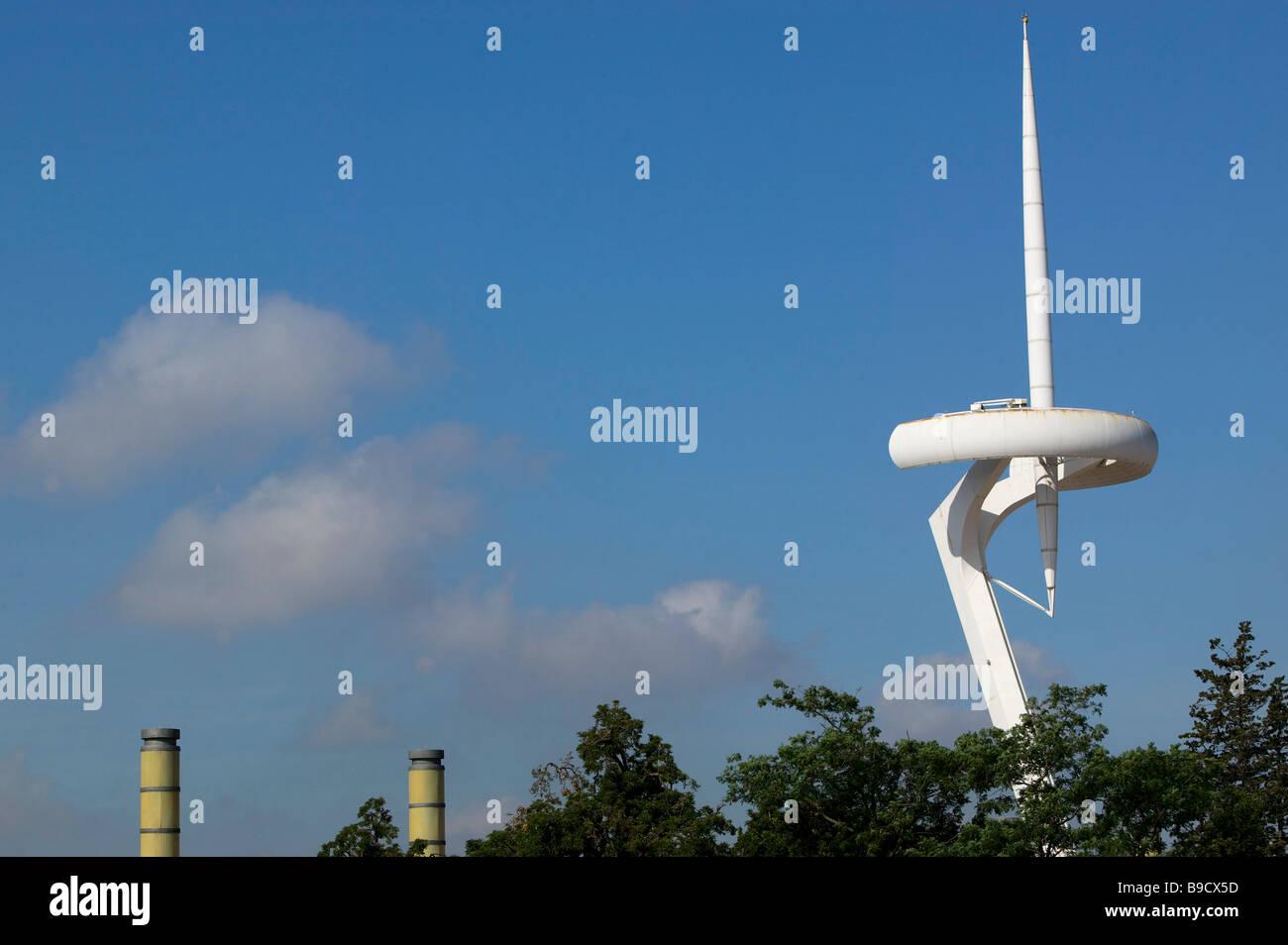 Montjuic Olympic ring Santiago Calatrava architect antenna Barcelona Spain Stock Photo