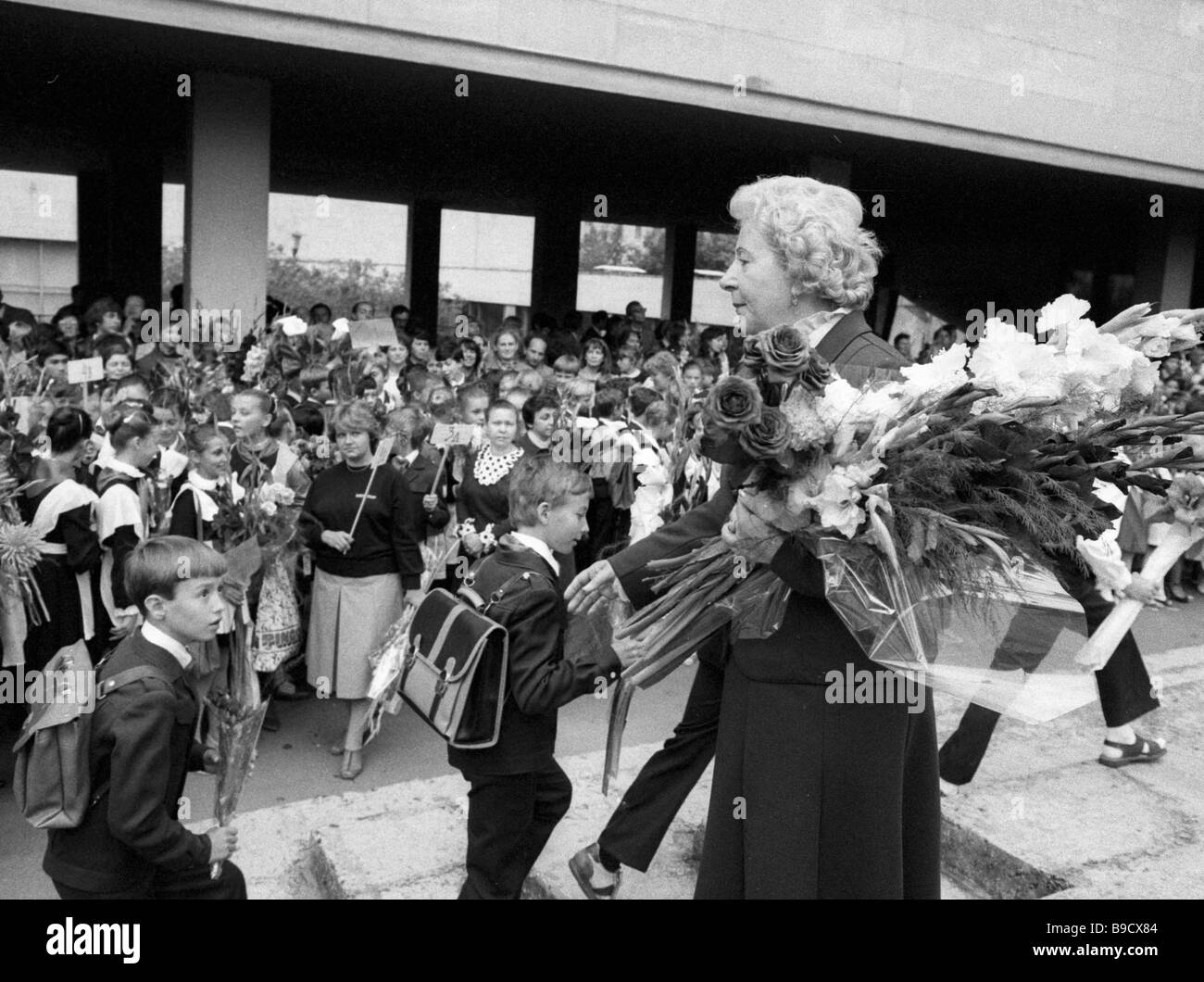 USSR People s Artiste director of the Moscow academic choreography school Sofia Golovkina welcomes students on the - Stock Image