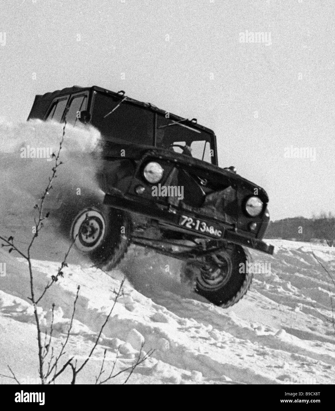 UAZ 469 automobile undergoing on the road tests in the plant s autodrome Stock Photo