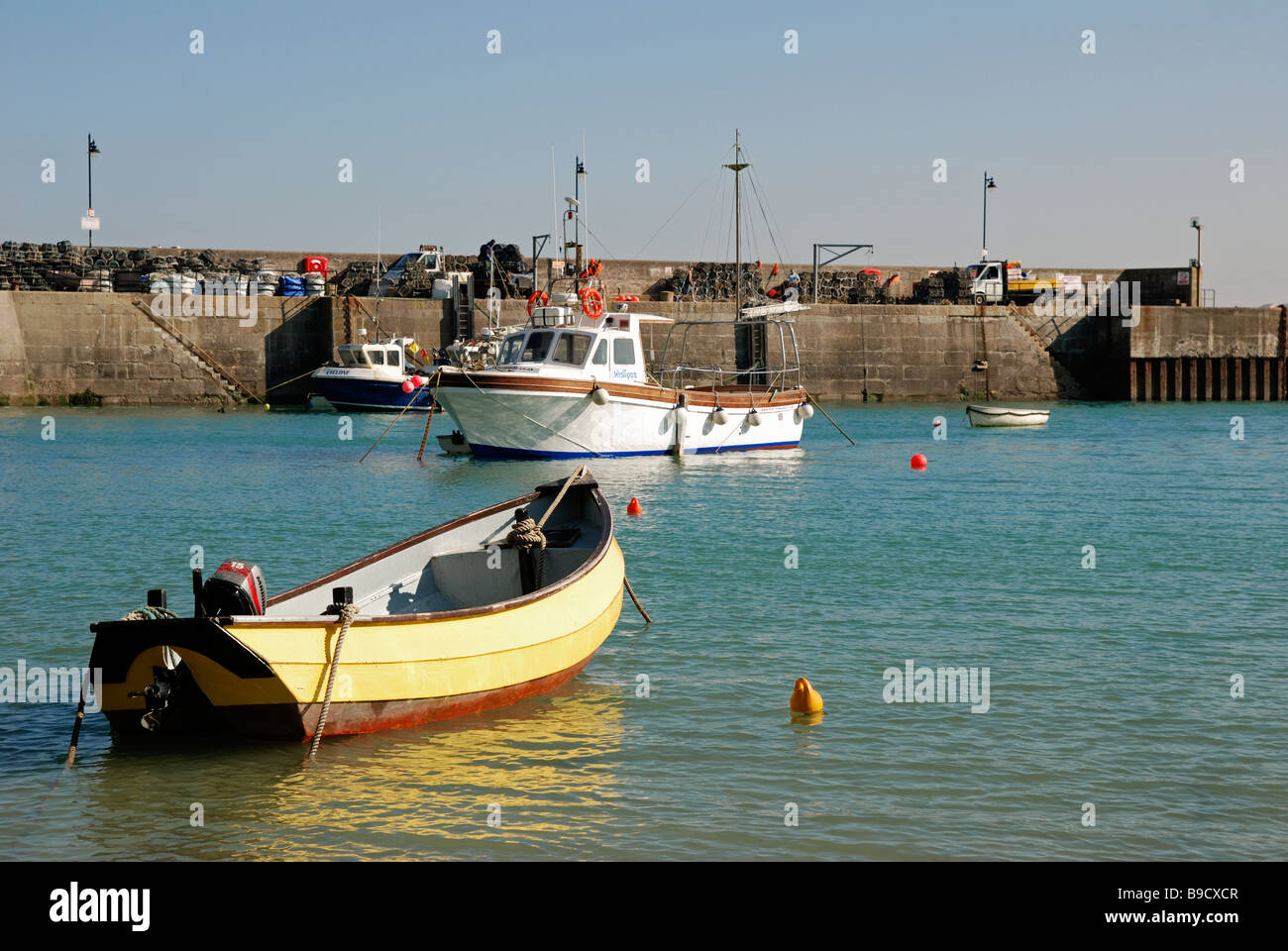 fishing boats in newquay harbour,cornwall,uk - Stock Image